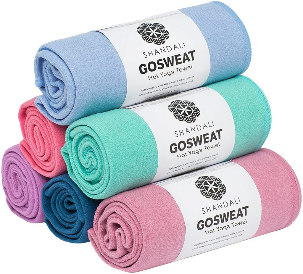 GoSweat-Non-Slip-Hot-Yoga-Towel-by-Shandali-with-Super-Absorbent-Soft-Suede-Microfiber-in-Many-Colors-for-Bikram-Pilates-and-Yoga-Mats-Stretching and Maintaining the Back myfreeyoga.com